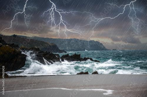 Fotobehang Onweer Orage en bord de mer