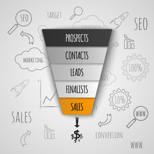 Sales Funnel Infographic. Vect...