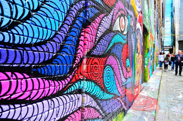 FototapetaView of colorful graffiti artwork at Hosier Lane in Melbourne