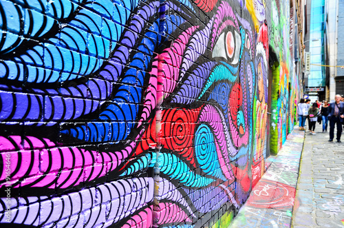 View of colorful graffiti artwork at Hosier Lane in Melbourne Poster