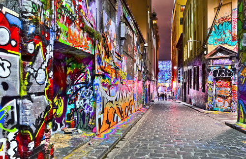 View of colorful graffiti artwork at Hosier Lane in Melbourne Fotobehang