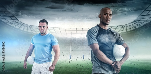 Fotografia, Obraz  Composite image of portrait of confident sportsman