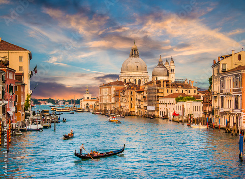 Canal Grande with Santa Maria Della Salute at sunset, Venice, Italy Canvas