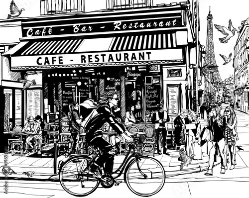 Photo sur Toile Art Studio Old cafe in Paris