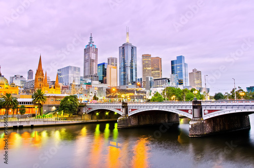 View of Melbourne skyline at dusk