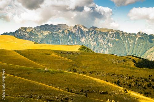 Fototapeta Meadows in the mountains create sinuous lines. obraz na płótnie