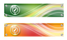 Set Of Two Banners With Colored Rainbow And Check Box