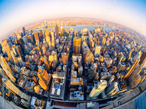 Fotografie, Obraz  Aerial view of New York City at sunset