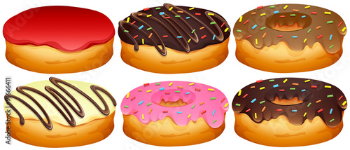 Tablou Canvas Set of different toppings donuts