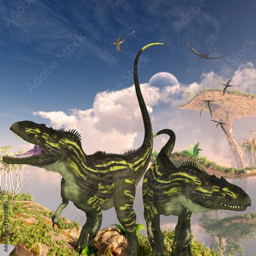 dinozaury-torvosaurus-dinozaury-torvosaurus-na-klifie-szukaja-ofiary-gdy-stado-gadow-rhamphorhynchus-leci-w-poblizu