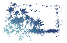 Grunge Summer Banner With Lot Of Palms