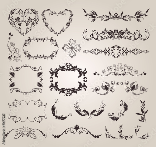 Fotografie, Obraz  Vector set decorative elements for design