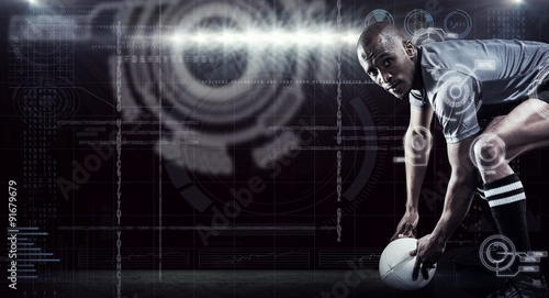 Fotografie, Obraz Composite image of portrait of rugby player holding ball