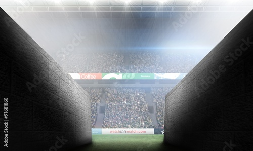 Stickers pour porte Stade de football Composite image of arena tunnel