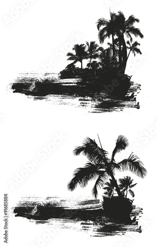 inky grunge summer scene with palms Wall mural