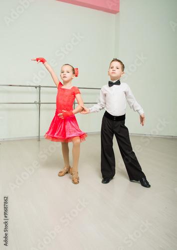 fototapeta na szkło Dancing, ballroom dancing, dance studio, children