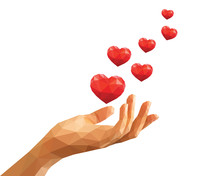 Polygonal Hand Keeps Six Red Floating Hearts Like Love Confessio