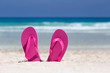 Pink flip flops on sandy beach near sea. Summer vacation concept