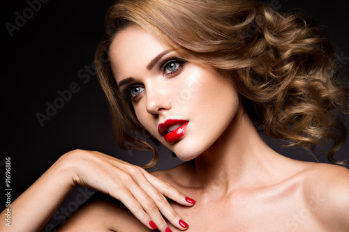 Fotografie, Obraz  Close-up portrait of beautiful woman with bright make-up
