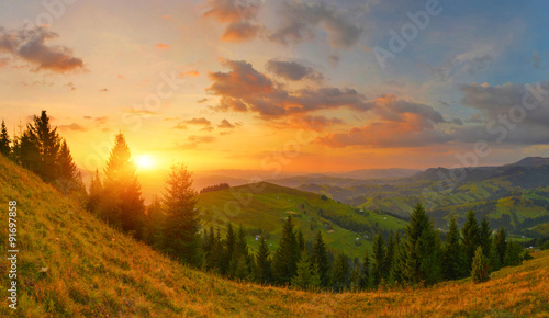 Poster Ochtendgloren Sunrise in countryside
