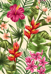 Panel SzklanyFloral seamless pattern