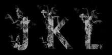 Font Smoke. Letters J, K, L