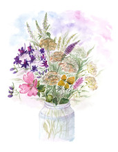 Bouquet Of Watercolor Colorful...