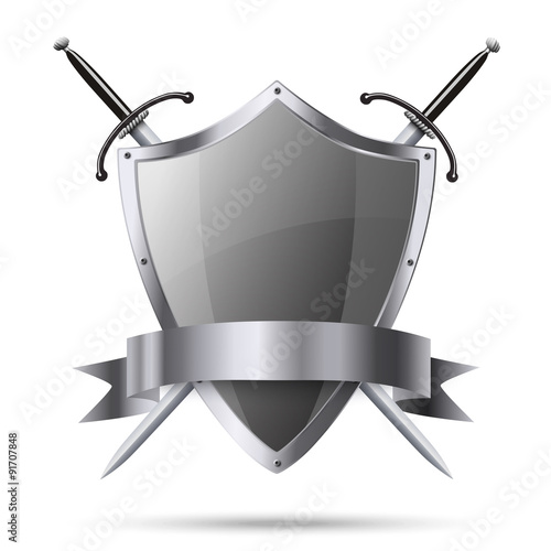 Fotografie, Obraz  Metallic glittering shield and two swords with ribbon isolated