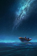 Fisherman In A Boat At Night Under The Milky Way,illustration Painting