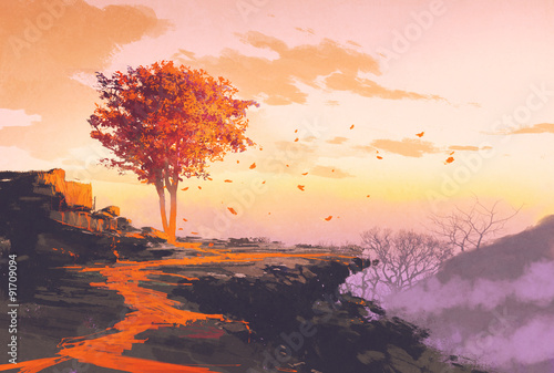 Canvas Prints Cappuccino landscape painting of melting autumn tree on top of the mountain
