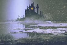 Castle Silhouette In Winter At Night,illustration Painting