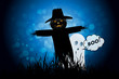 Leinwandbild Motiv Halloween Background with Ghost and Scarecrow