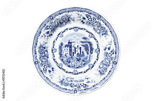 Leinwand Poster Vintage dish isolated on white.