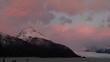 Sunrise over a glacier.