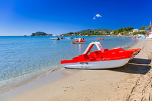 Paddle Boat On The Beach Of Laganas, Zakynthos In Greece
