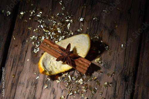Spoed Foto op Canvas Chocolade Christmas Food Decoration, Glitter, Orange Cinnamon, Anise