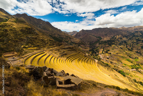 Poster Aigle Inca's terraces in Pisac, Sacred Valley, Peru