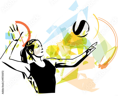 obraz PCV Illustration of volleyball player playing
