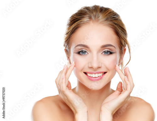 Studio shot of a beautiful young woman with perfect skin against Poster