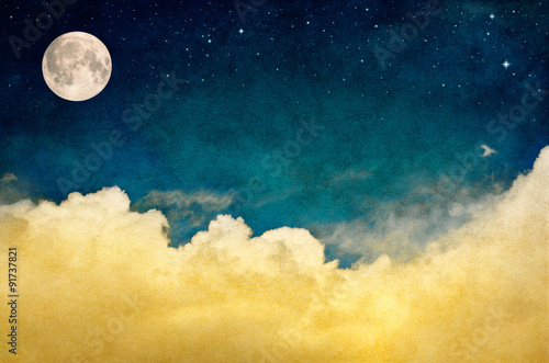 Aluminium Prints Heaven Full Moon and Cloudscape