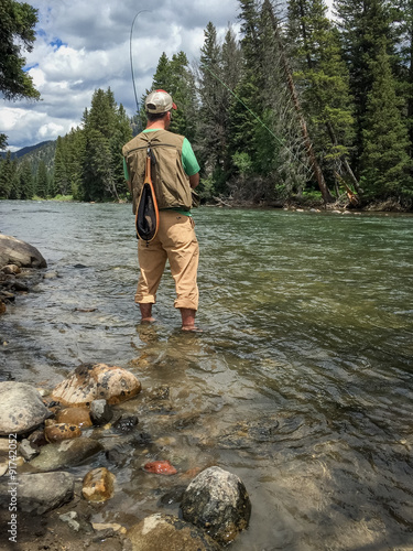 Poster Peche Fly fishing the Gallatin River