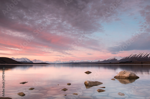 Pink sunset at Lake Tekapo, New Zealand