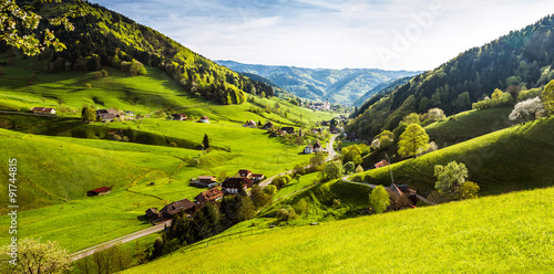 Scenic panorama view of a picturesque mountain village in Germany, Muenstertal, Black Forest. #91744815