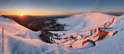 Aluminium Prints Salmon Panorama of winter mountain, Slovakia frozen landscape