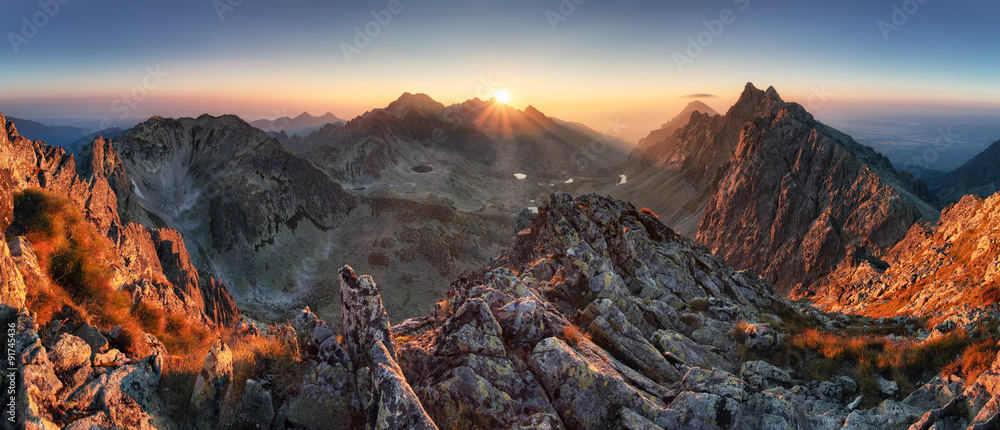 Fototapety, obrazy: Sunset panorama mountain nature autumn landscape, Slovakia