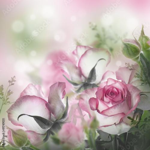 Nowoczesny obraz na płótnie Bouquet of fresh roses, flower bright background.