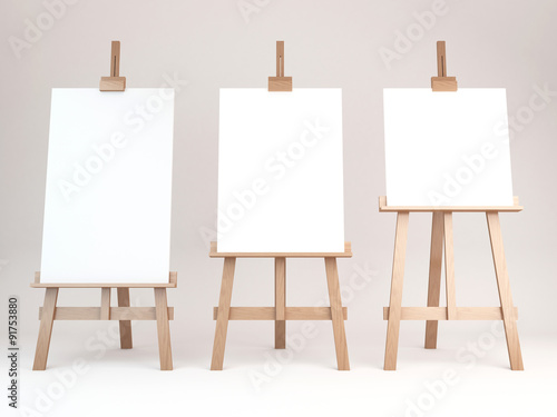 Photo  3d rendering of a wooden easel