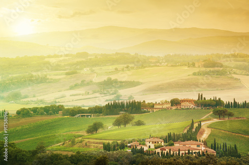 Rolling hills landscape in Tuscany, Italy. - 91758096