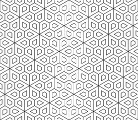 Vector modern seamless geometry pattern flower, black and white abstract geom...