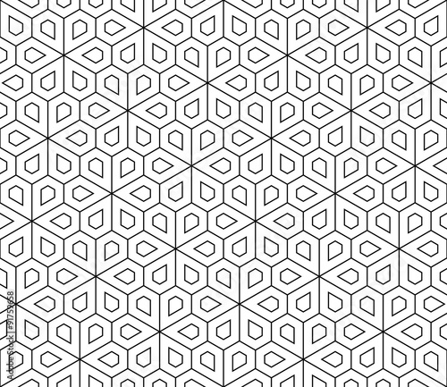 obraz PCV Vector modern seamless geometry pattern flower, black and white abstract geometric background, wallpaper print, monochrome retro texture, hipster fashion design